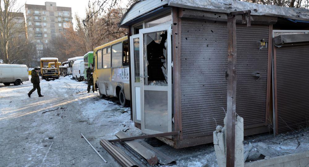 Následky ostřelování na Donbasu