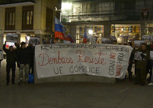 V centru Madridu se odehrál mítink na podporu Donbasu