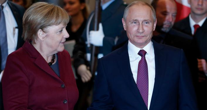 Prezident RF Vladimir Putin a kancléřka Německa Angela Merkelová