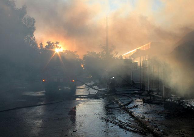 Požár v Doněcku (ilustrační foto)