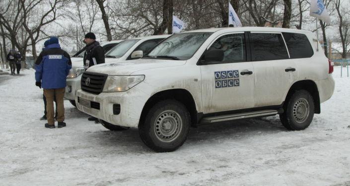 Příslušnící OBSE v Doněcké oblasti