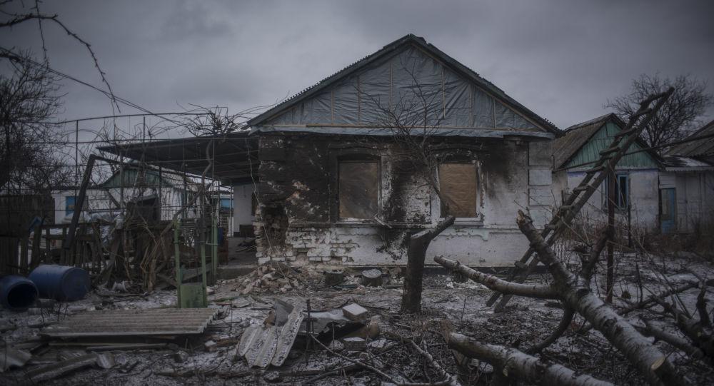 Zničený dům v Doněcké oblasti
