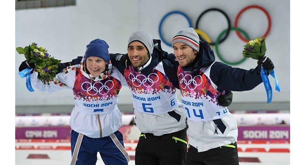 Ondrej Moravec, Martin Fourcade et Jean-Guillaume Béatrix