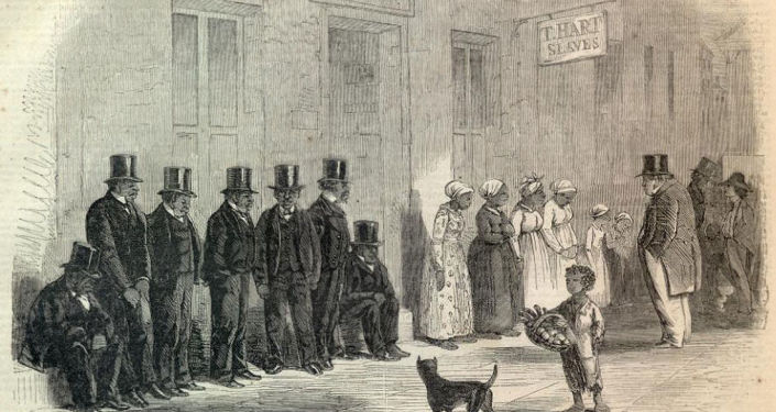 Obrázek Slaves for sale, a scene in New Orleans, 1861