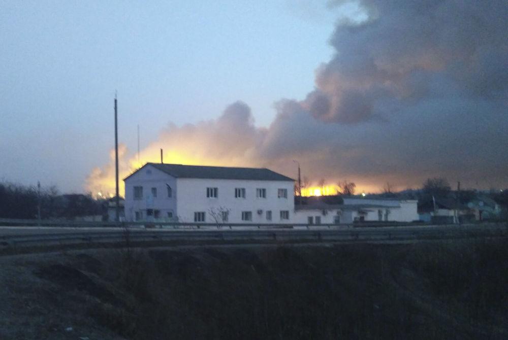 Požár na muničním skaldu v Charkovské oblasti