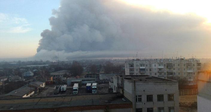 Požár skladu munice v Charkovské oblasti