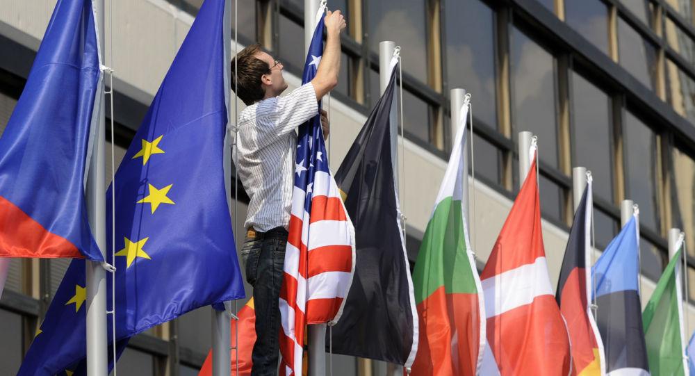 Vlajky států EU a USA