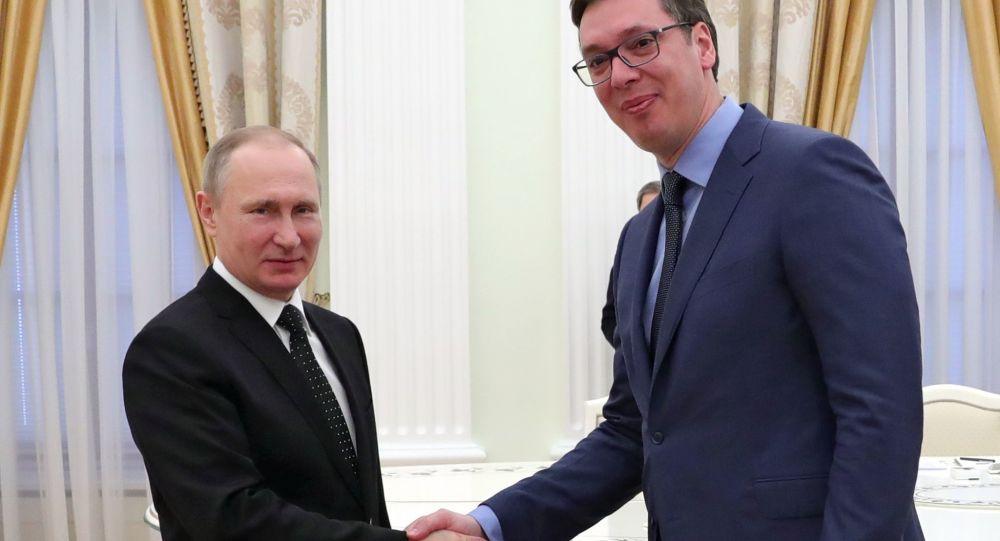 Ruský prezident Vladimir Putin a srbský předseda vlády Alexandar Vučić