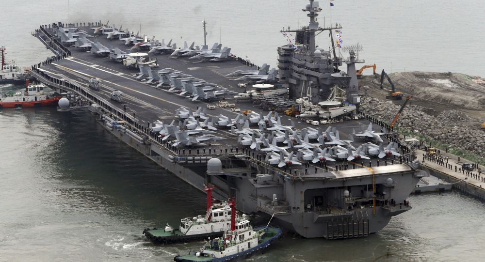 Americká letadlová loď John C. Stennis během cvičení v Jižní Koreji