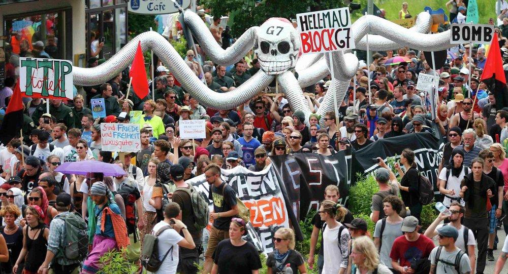 Protesty Anti-G7 v Garmisch-Partenkirchenu