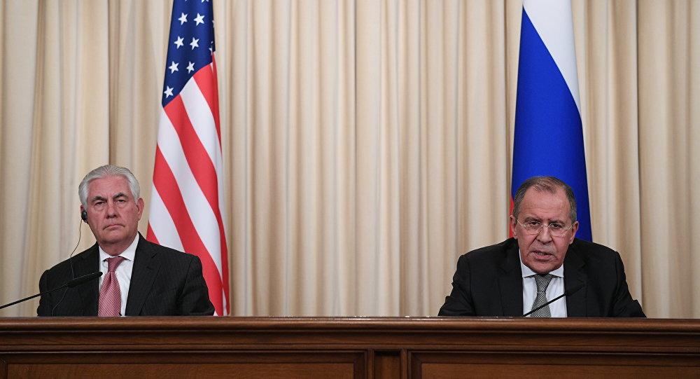 Tisková konference Sergeje Lavrova a Rexe Tillersona