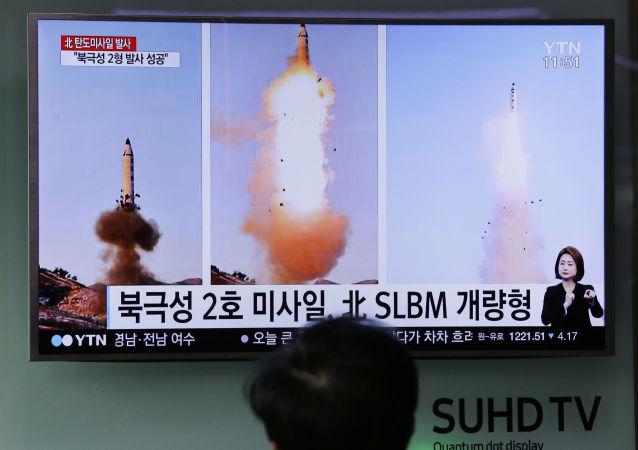 Zkouška severokorejské balistické rakety Pukguksong-2