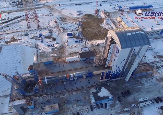 Záběry z kosmodromu Vostočnyj