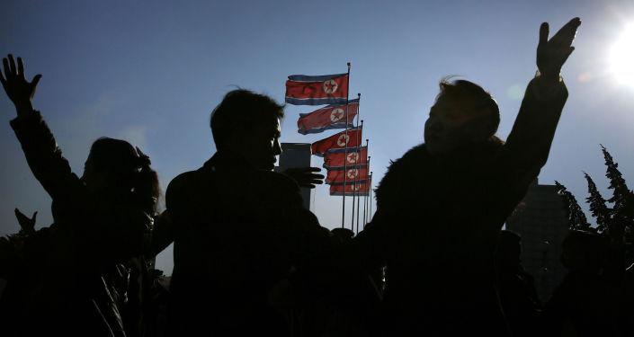 Vlajky KLDR v Pchjongjangu