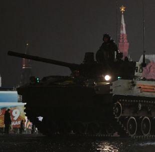 Noční zkouška přehlídky Vítězství v Moskvě