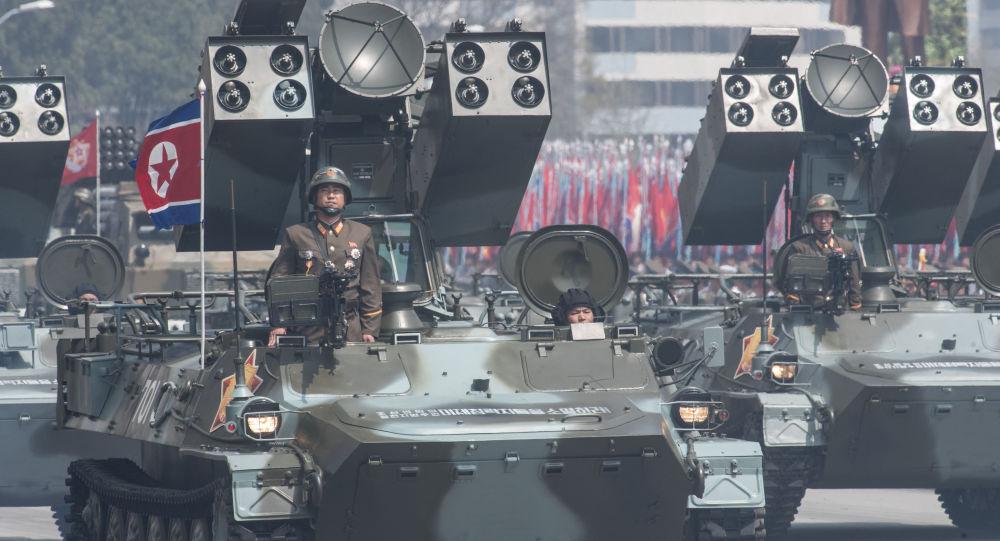 Protiletadlový komplex na přehlídce v Pchjongjangu