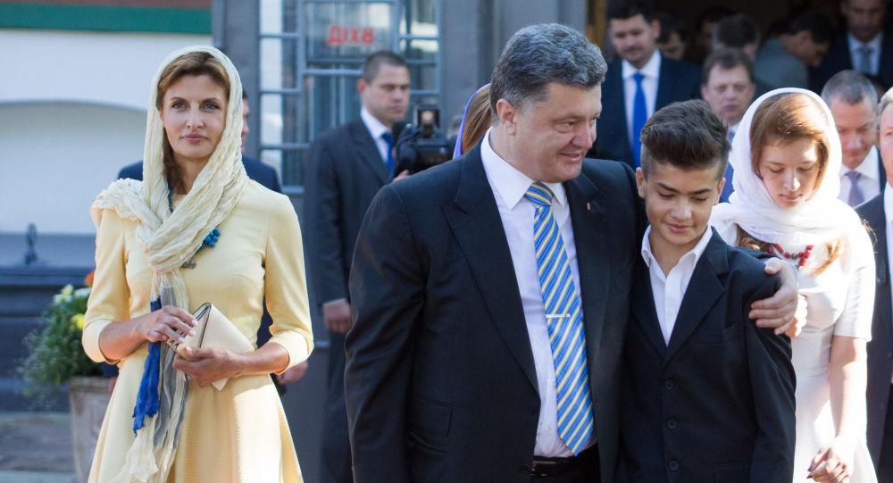 Petro Porošenko c manželkou Světlanou a synem Michailem