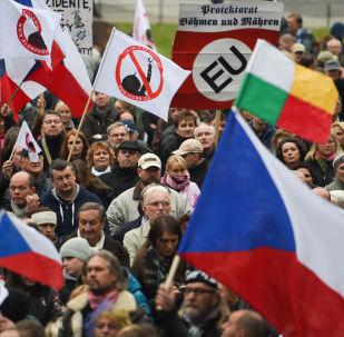 Protestní akce proti migrantům v Praze