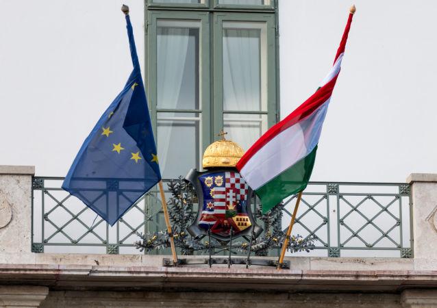 Vlajka Maďarska a EU