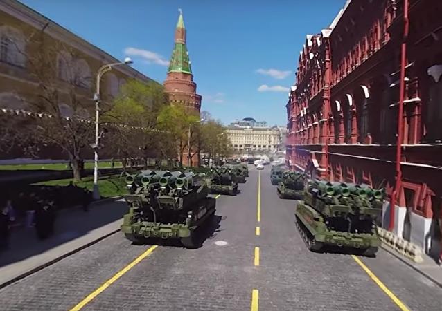 MO uveřejnilo panoramatické video zkoušky Přehlídky vítězství v Moskvě