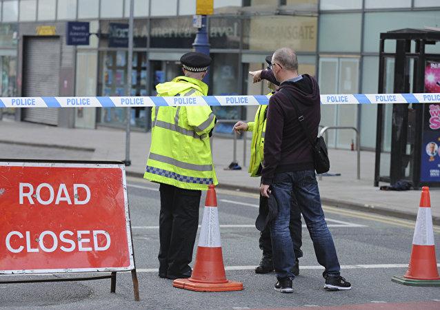 Policie na místě výbuchu v Manchesteru