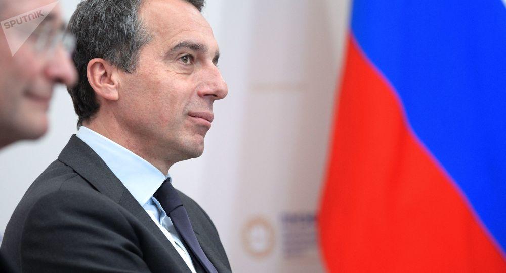 Rakouský kancléř Christian Kern během setkání s ruským prezidentem Vladimirem Putinem