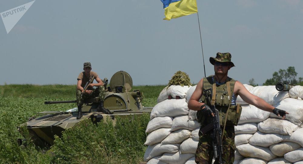 Kontrolní stanoviště  ukrajinských vojáků