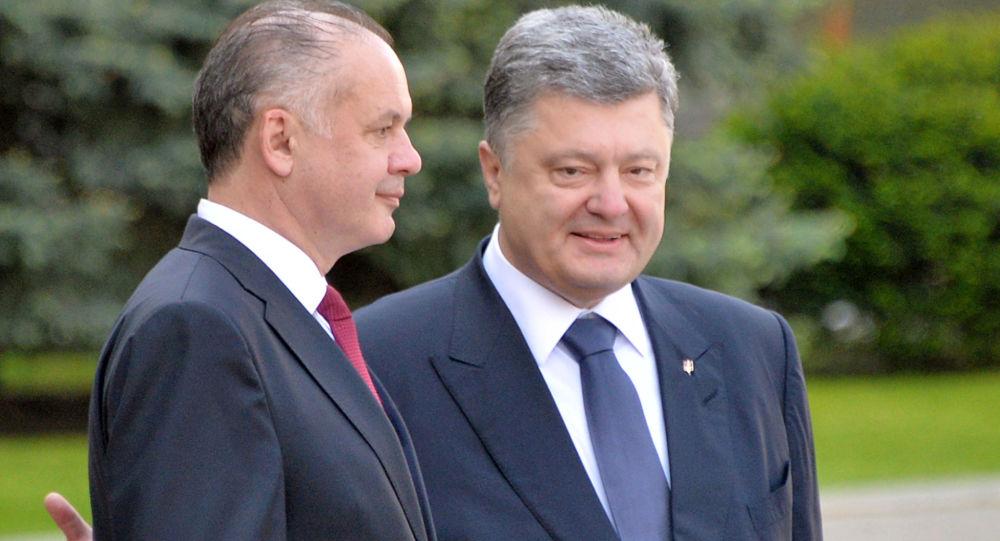 Ukrajinský prezident Petro Porošenko a slovenský prezident Andrej Kiska
