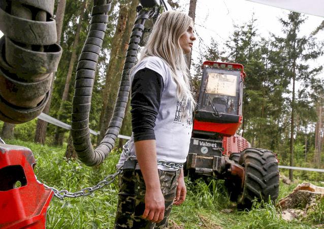 Protestující proti kácení Bělověžského pralesa
