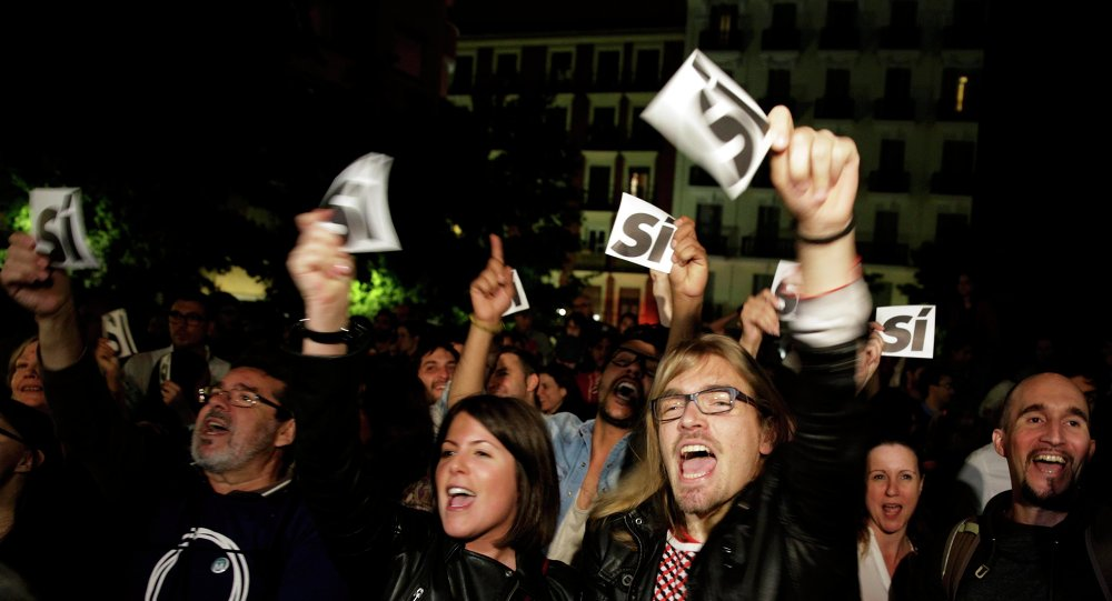 Přívrženci opoziční strany Podemos