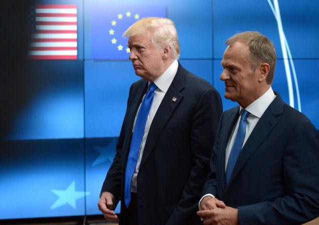 Americký prezident Donald Trump a předseda Evropské rady Donald Tusk