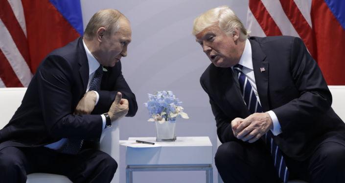 Президент РФ Владимир Путин во время встречи с президентом США Дональдом Трампом на полях саммита лидеров Группы двадцати G20 в Гамбурге