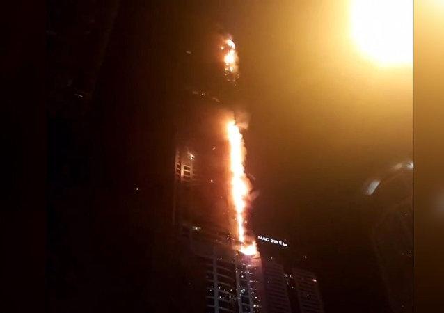 Požár v dubajském mrakodrapu