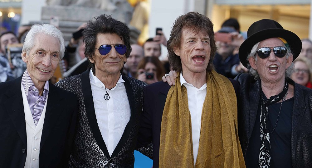 Skupina The Rolling Stones: Charlie Watts, Ronnie Wood, Mick Jagger and Keith Richards.