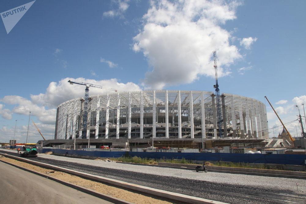 Stavba stadionu Nižnij Novgorod pro Mistrovství světa 2018 v Nižním Novgorodu