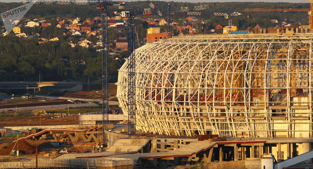 Mordovia Arena v Saransku při stavbě