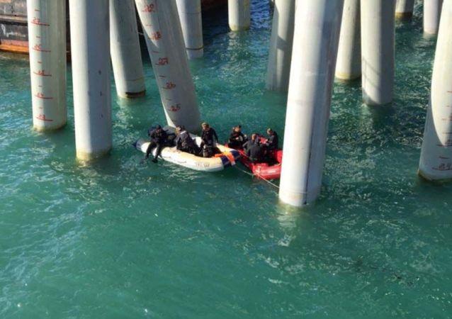 Místo havárie v Kerčském průlivu