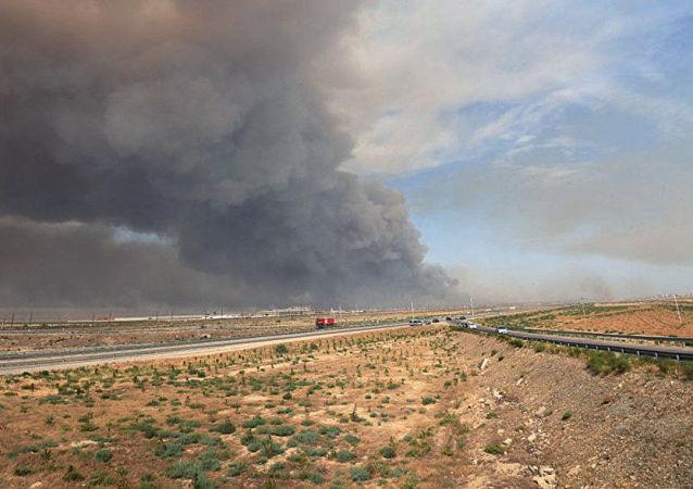 Požár na ázerbájdžánském muničním skladu vojenské jednotky