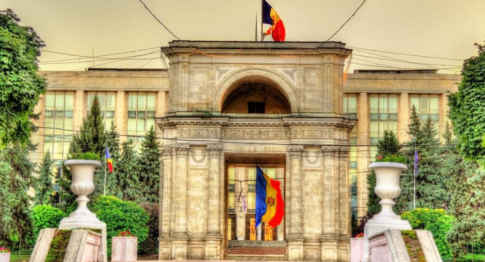 Moldavská vlajka v Kišiněvě