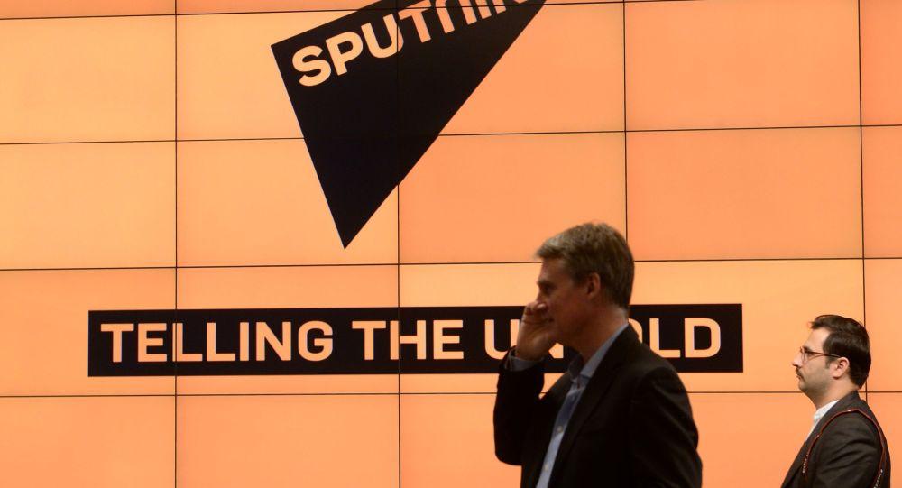 Logotyp informační agentury Sputnik. Ilustrační foto