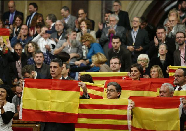 Vlajky Španělska a Katalánie