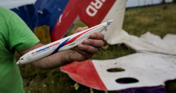 Model MH17 na místě jeho pádu