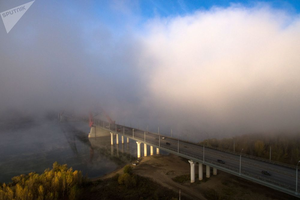 Hustá mlha v Novosibirsku