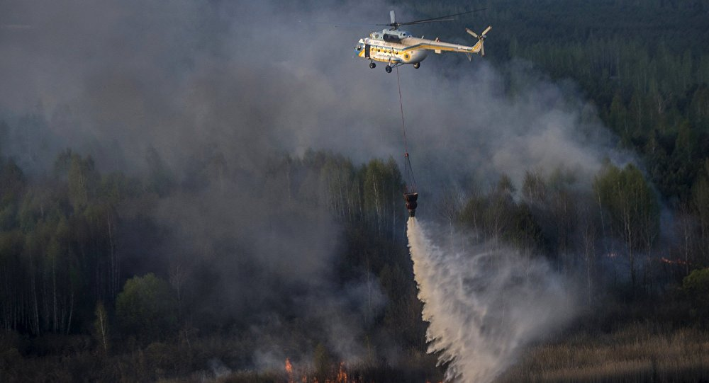 Nedaleko Černobylu hoří 130 hektarů lesa