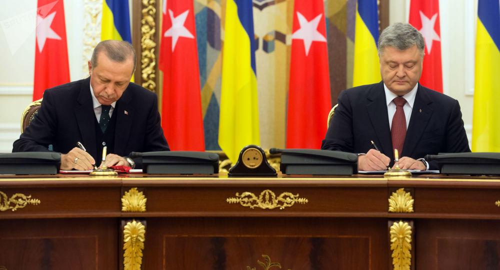 Schůzka tureckého prezidenta Tayyipa Erdogana a ukrajinského předáka Petra Porošenka