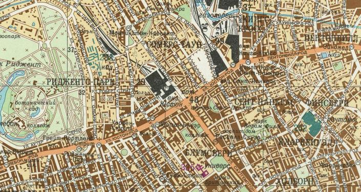 Část velice přesné sovětské mapy Londýna