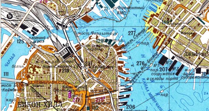 Část velice přesné sovětské mapy Bostonu