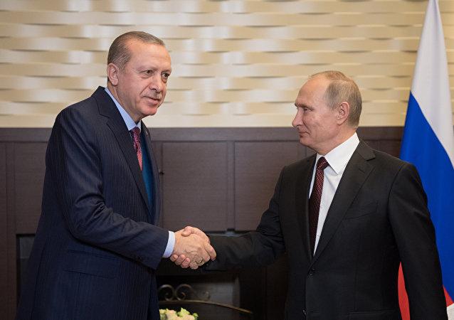 Ruský prezident Vladimir Putin s tureckým prezidetem Recepem Erdoganem v Soči