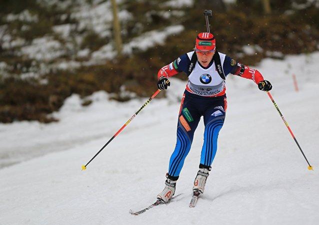 Ruský biatlonistka Olga Zajcevová