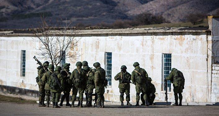 Vojáci vedle Simferopole